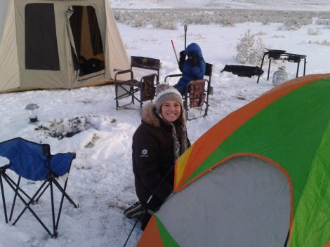 Brianna setting up tent