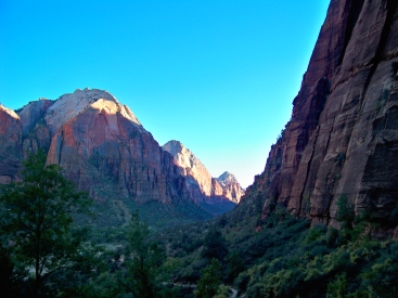 sunset on the trail Angels Landing